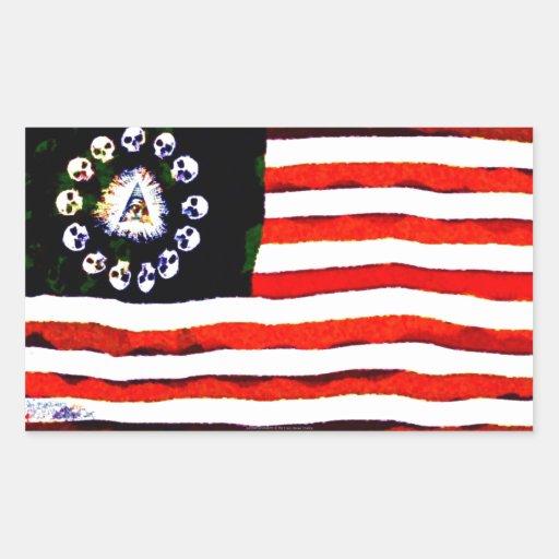 Pirata americano 005 pegatina rectangular
