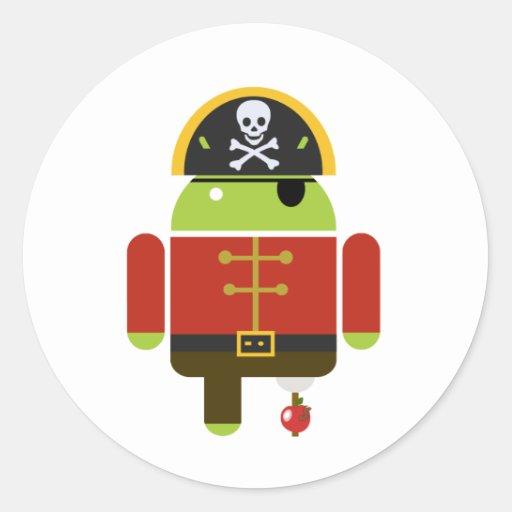 Pirata androide - Andy Pegatina Redonda