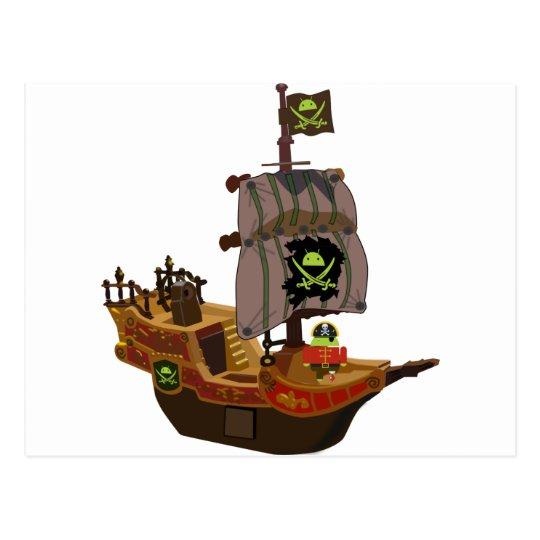 Pirata androide en una nave tarjeta postal