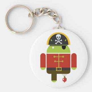 Pirata androide que machaca Apple Llavero Redondo Tipo Pin