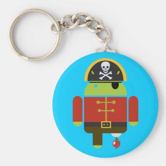 Pirata androide que machaca una manzana llavero redondo tipo pin