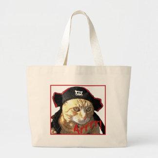 Pirata Arrrr del gatito Bolsa Tela Grande