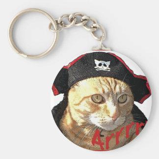 Pirata Arrrr del gatito Llavero Redondo Tipo Pin