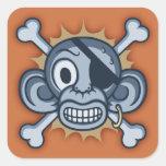 Pirata azul del mono calcomanías cuadradass