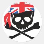 Pirata británico etiquetas redondas