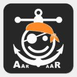 pirata calcomanías cuadradass personalizadas