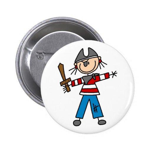 Pirata con el botón de la espada pin redondo de 2 pulgadas