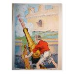 Pirata con el cañón tarjeta postal
