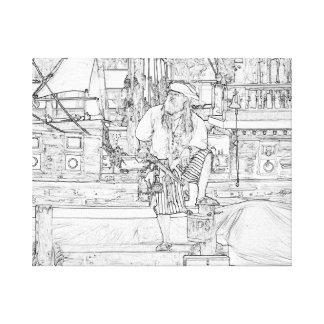 pirata con el pie para arriba en piratas del impresión en tela