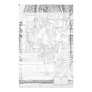 pirata con la comida para arriba en bosquejo de la papeleria