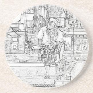 pirata con la comida para arriba en bosquejo de la posavasos diseño