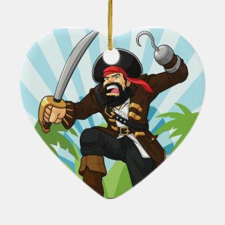Pirata con su cofre del tesoro adorno de cerámica en forma de corazón