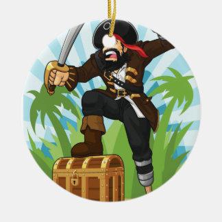 Pirata con su cofre del tesoro adorno redondo de cerámica