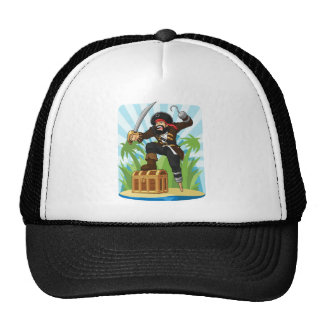 Pirata con su cofre del tesoro gorras