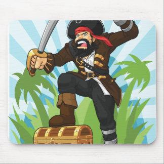 Pirata con su cofre del tesoro mousepad