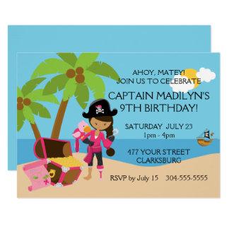 """Pirata con una fiesta de cumpleaños de la pierna invitación 5"""" x 7"""""""