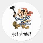 Pirata conseguido pegatina redonda