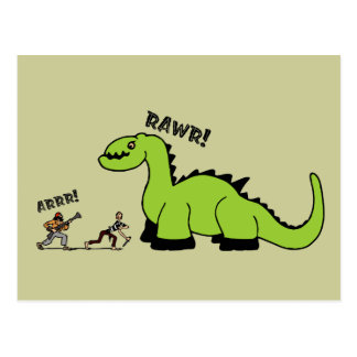 Pirata contra dinosaurio postales