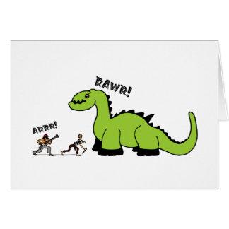 Pirata contra dinosaurio tarjeta de felicitación