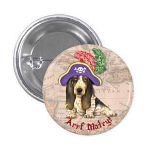 Pirata de Basset Hound Pin Redondo De 1 Pulgada