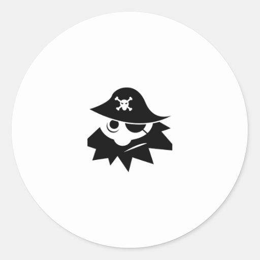 Pirata de Blackbeard del dibujo animado Etiqueta Redonda