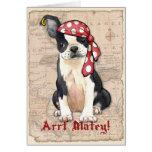 Pirata de Boston Terrier Felicitacion