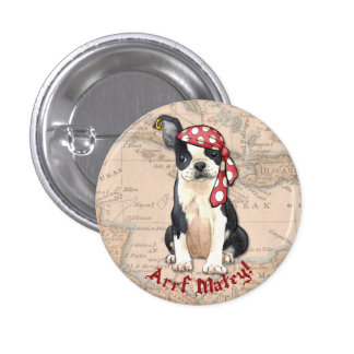 Pirata de Boston Terrier Pin Redondo De 1 Pulgada