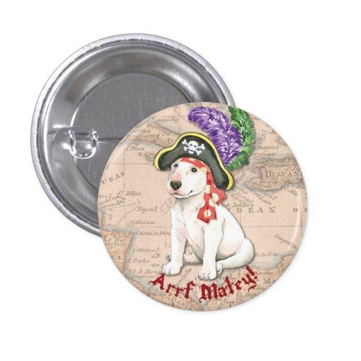 Pirata de bull terrier pin redondo de 1 pulgada