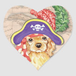 Pirata de cocker spaniel pegatina de corazon personalizadas