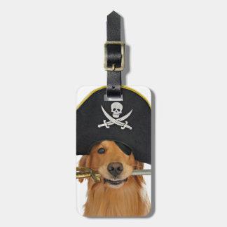 Pirata de Halloween del golden retriever Etiqueta De Equipaje
