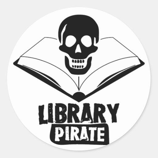 Pirata de la biblioteca pegatina redonda