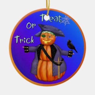 Pirata de la calabaza de Halloween Ornamentos Para Reyes Magos