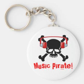 Pirata de la música llavero redondo tipo pin