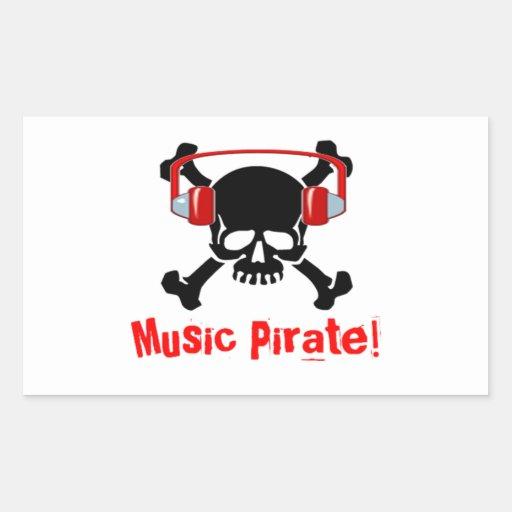 Pirata de la música pegatina rectangular