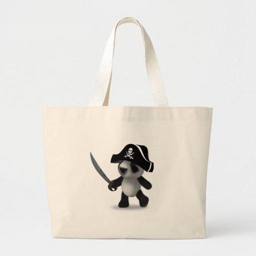 pirata de la panda del bebé 3d bolsa lienzo