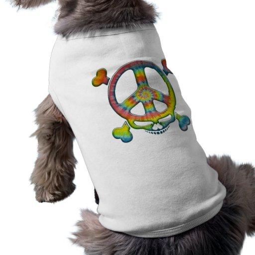 Pirata de la paz del teñido anudado playera sin mangas para perro