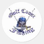 Pirata de la pesca de GulfCoast Pegatinas Redondas