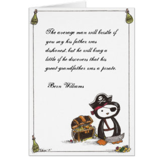 Pirata de la pluma con cita tarjeta pequeña