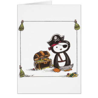 Pirata de la pluma tarjeta de felicitación