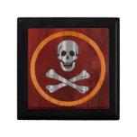 Pirata de madera del metal caja de joyas