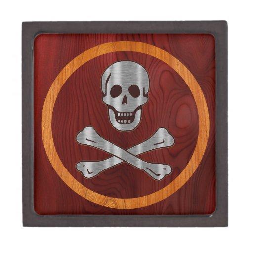Pirata de madera del metal caja de joyas de calidad