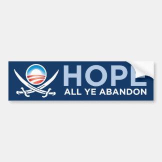 Pirata de Obama - espere todo el abandono de YE Pegatina De Parachoque