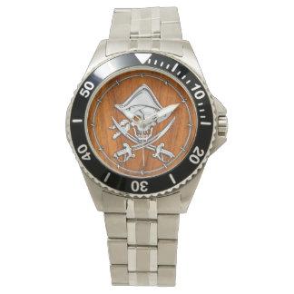 Pirata de plata del cromo en la decoración de la relojes de mano