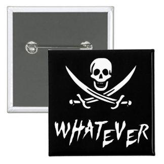 "Pirata de ""Rogelio apático"" {Whitebeard} Pin Cuadrado"