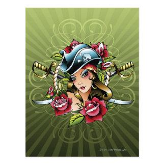 Pirata de sexo femenino con los rosas y las espada tarjeta postal