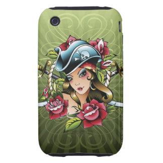Pirata de sexo femenino con los rosas y las funda though para iPhone 3