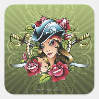 Pirata de sexo femenino con los rosas y las pegatina cuadrada