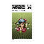 Pirata de sexo femenino con los rosas y las sellos