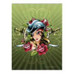 Pirata de sexo femenino con los rosas y las tarjetas postales
