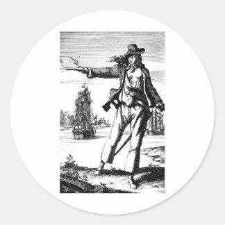 pirata de sexo femenino pegatina redonda